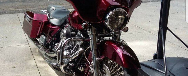 Deep red Cosmichrome motorcycle